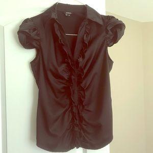 Black XOXO sateen blouse